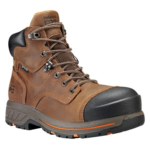 "Timberland PRO Men's 6"" Distressed Brown Helix HD Composite Toe WP Work Boots"